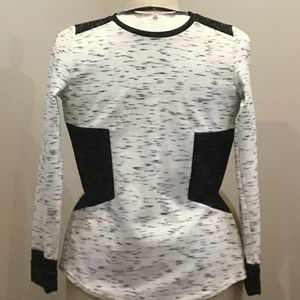Rachel Roy Black and White Color Block Knit Top